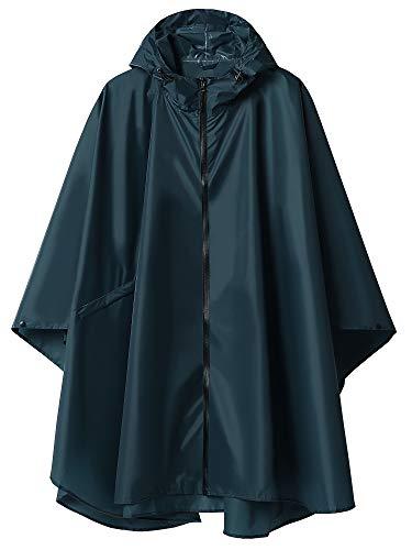 Summer Mae Regen Poncho Jacke Mantel für Erwachsene mit Kapuze wasserdicht mit Reißverschluss im Freien,Einheitsgröße,Dunkelblau-2