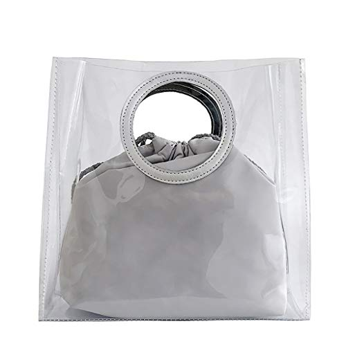 New Leaf2you Women Transparent PVC Open Round Ring Handle Clear Handbag Match Drawstring Bucket Bags...