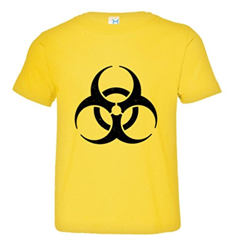 PleaseMeTees Toddler Biohazard Toxic Waste Distressed HQ Tee-Yelow-5/6 Yellow