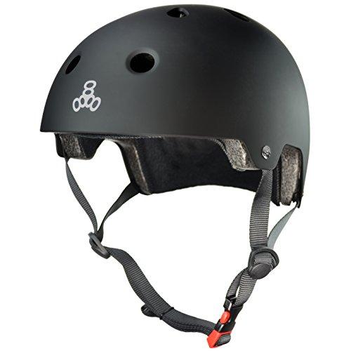 Triple Eight Dual Certified Bike and Skateboard Helmet, Black Matte, Small / Medium