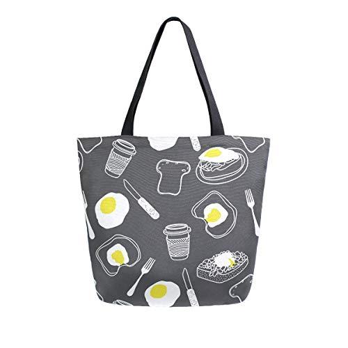 Irud Canvas Tote Bag Frühstück Kaffee Gabel Ei Casual Schultertasche Groß für Frauen Handtasche Lebensmittel Baumwolltasche Einkaufstasche Wiederverwendbare Handtasche für Outdoor