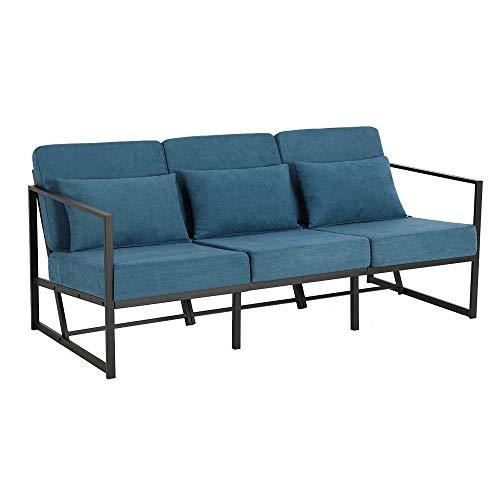 Mingone Gepolsterter Sessel Einzelsofa Mehrsitzsofa Metallrahmen Leinen Weicher Sitz Eleganter Retro-Stuhl für Wohnzimmer Empfang Café(Blau, 168 x 72 x...