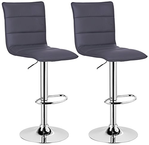 WOLTU BH15gr-2 Design Hocker mit Griff, 2er Set, stufenlose Höhenverstellung, verchromter Stahl, Antirutschgummi, pflegeleichter Kunstleder, gut gepolsterte Sitzfläche, grau