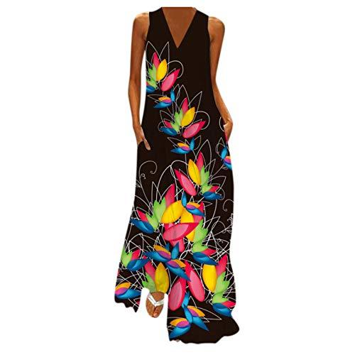 PANGF Vestido de mujer con cuello en V, sin mangas, estampado bohemio, maxi de fiesta, con bolsillos, vestido largo de manga larga, vestido de cóctel, fiesta, floral, vestido de ocio. Multicolor B. XL