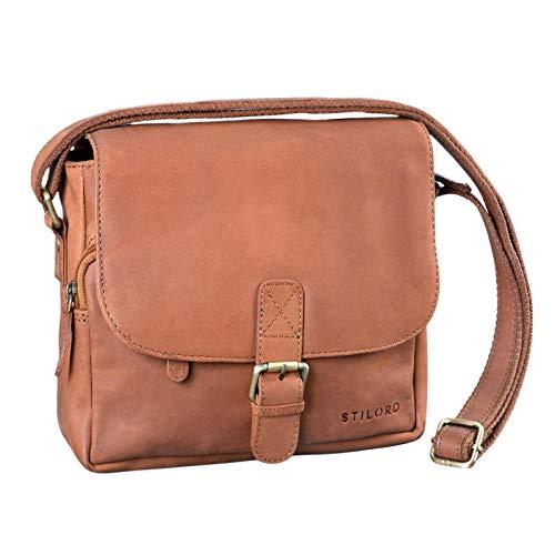 STILORD 'Lucian' Vintage Umhängetasche Leder klein für Herren und Damen Schultertasche für 10.1 Zoll Tablet iPad DIN A5 Handtasche aus echtem Leder, Farbe:Sattel - braun