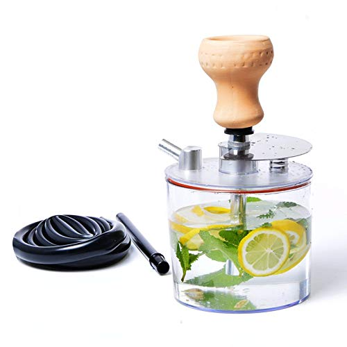 Juego de Cachimba de Acrílico Shisha Portátil con Cuenco de Cerámica + Manguera de Cachimba + Accesorios de Clip de Carbón Sin BPA