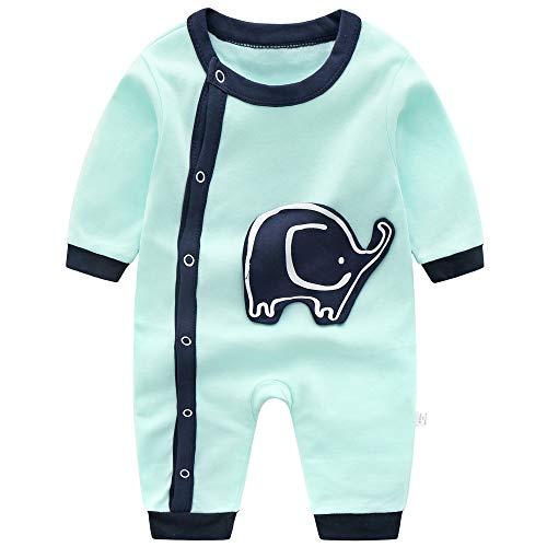 EU World Baby Jungen Strampler 6-9 Monate Anzug Baumwolle Bodys Einteiler Blau Elefant Langarm Outfits Neugeborenes Süß Tier Drucken Jumpsuit Baby-Nachtwäsche Frühling Sommer Herbst
