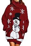 Großer Weihnachtspullover mit Schneemann und Flocken