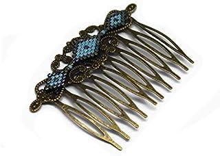 Pettine rombo vetro giapponese blu turchese grigio nero ottone bronzo accessorio capelli regalo nozze personalizzato natal...
