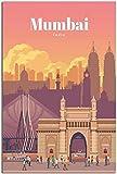 HNGFV Leinwand Bilder Vintage Reise Poster Mumbai Leinwand