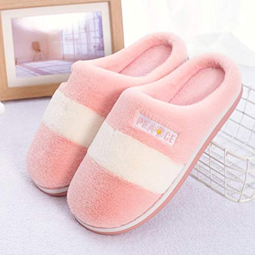 Charm4you Furry Slippers,Autumn and winter fashion color matching warm cotton slippers-Pink_38,Ladies' Comfort Coral Fleece Slippers