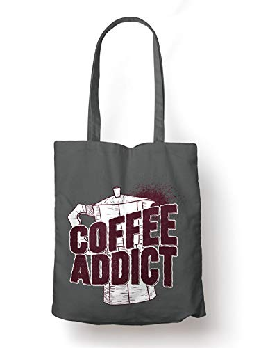 BLAK TEE Coffee Addict with Kettle Illustration Organic Cotton Reusable Shopping Bag Grey