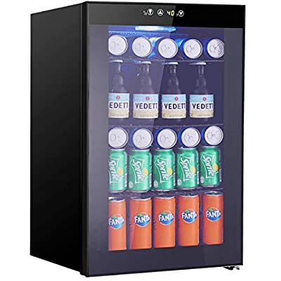Beverage Refrigerator and Cooler - 2.3 Cu. Ft. Drink Fridge with Glass Door for Soda, Beer or Wine - Small Beverage Center with 5 Removable Shelves for Office/Man Cave/Basements