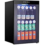 Beverage Refrigerator and Cooler, Drink Fridge with Glass Door for Soda, Beer or Wine, Small Beverage Center with 3 Removable Shelves for Office, Man Cave, Basements, Home Bar,2.3 cu.ft