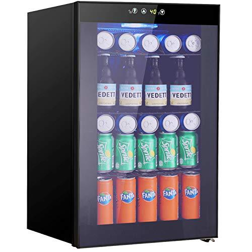 Beverage Refrigerator and Cooler - Drink Fridge with Glass Door for Soda,...