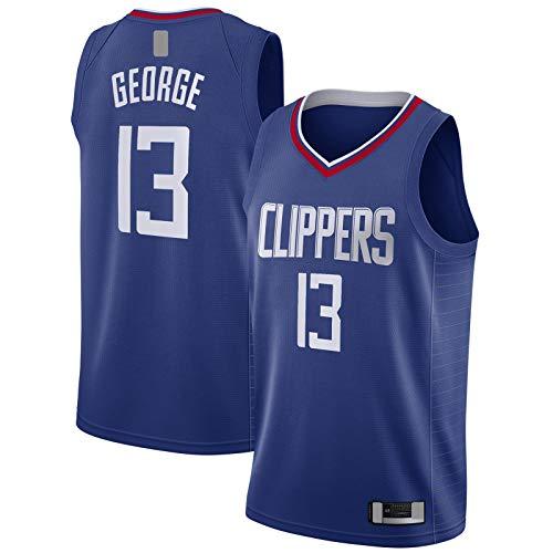 MAYAL Sudadera Paul Custom George Manga Corta LA Baloncesto Jersey Clippers Azul - #13 Swingman Jersey Icon Edition-M