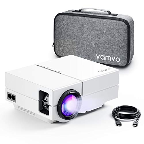 """Vamvo Movie Projector, Portable Projector with Dolby Digital Plus Support 1080P 200"""" Display, Compatible with Fire TV Stick/PS4, Video Outdoor Projector for Phone with HDMI, VGA, SD/TF, AV, USB and RC"""