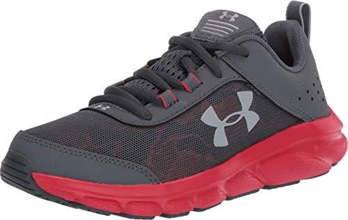 Under Armour Unisex-Youth Grade School Assert 8 Sneaker, Pitch Gray (102)/Versa Red, 3.5