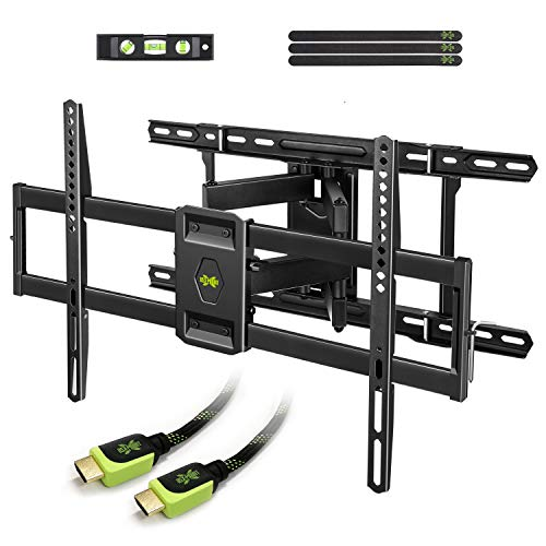 "USX MOUNT Full Motion TV Mount Wall Bracket with Articulating Arms for 42""-80"" Flat Screen LED LCD 4K TV, Tilt Swivel TV Mounts with Max VESA 600x400mm, Weight Capacity 99lbs Up to 24"" Wood Stud"