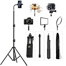 Cell Phone Tripod 27 inch to 80 inch Adjustable Phone Video Stand for iPhone & Camera Video Recording Vlogging/Streaming/Photography Rotatable Live Video Stand Compatible with and Most Mobile Phones