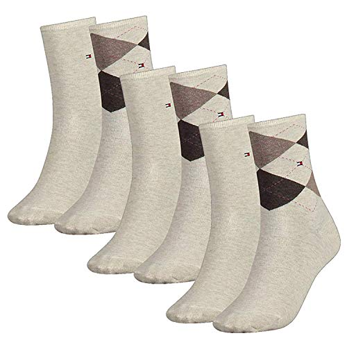Tommy Hilfiger Damen Socken, Check Sock, Strümpfe, Rauten, 6er Pack (Beige, 39-42 (6 Paar))