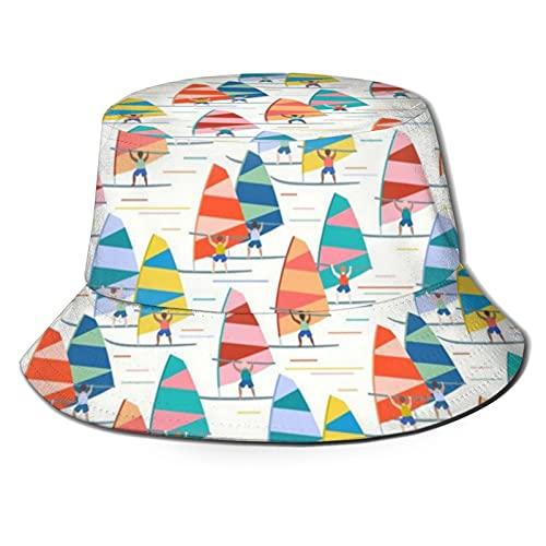 Yearinspace The Hat Unisex Packable Summer Travel Bucket Beach Sun Hat Sombrero de pescador Windsurf Gran Escala Blanco
