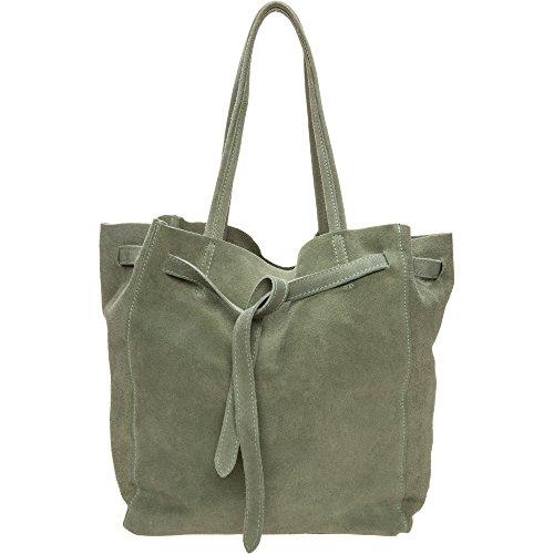 Hey May Leder Damen Handtasche Schultertasche Innenbeutel mit Reißverschluss Hochwertige Qualität Minze Damen Tasche