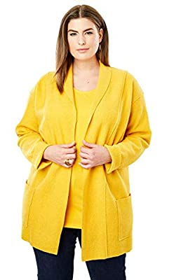 Jessica London Women's Plus Size Boiled Wool Shawl Collar Jacket - 22/24, Amber Yellow by Jessica London