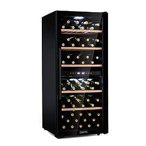 KLARSTEIN Barossa - Cave à vin, Température réglable entre 5 et 18 °C, Éclairage intérieur LED, Pieds réglables en hauteur, Entretien facile, Clayettes en bois - 102 bouteilles, Noir
