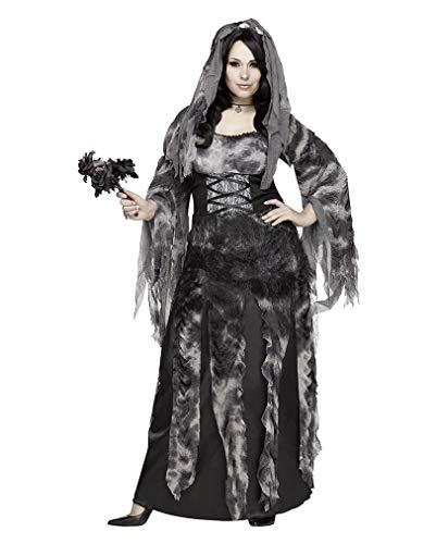 Horror-Shop Friedhofs Gothic Hochzeitskleid Halloweenkostüm Brautkleid mit Schleier Plus Size XL