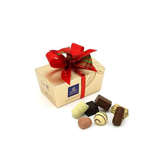 Leonidas Pralinen   Weihnachtlich verpackte, handverlesene belgische Pralinen Mischung mit handgefertigter Schleife in goldenem Pralinen Ballotin, als Geschenk für Weihnachten (240g)