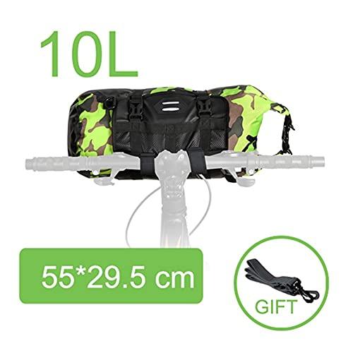 MMI-LX CXYUAN - Bolsa impermeable de gran capacidad para bicicleta de 2 pulgadas, 13 L, 7 L, 10 L, 15 L, 20 L, bolsillo frontal para manillar de bicicleta de carretera (color 10 L, CAM 3)