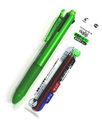 Pilot Frixion Ball 3 3 Color Gel Ink Multi Pen,fine Point -0.5mm-black/blue/red Inks Light Green Body &3 Colors Gel Ink Pens Refills Value Set