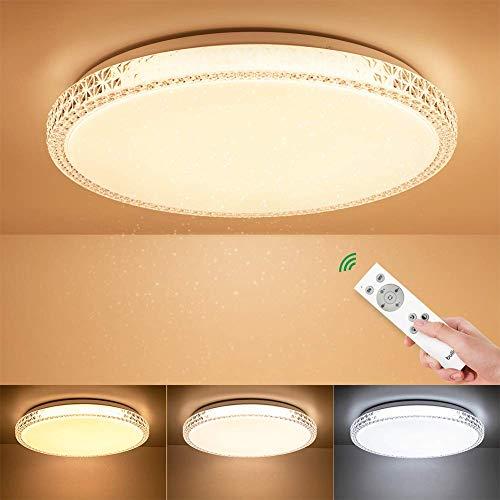 BULING 24W Deckenleuchte LED Dimmbar mit Fernbedienung Wohnzimmer, Sternenhimmel Deckenlampe Kristall Kinderzimmer Ø40cm IP44 2400LM