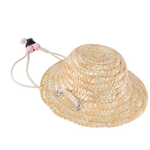 STOBOK Sombrilla para Mascota Sombrero de Paja 1 Pieza Adorable Y Delicado Gato Sombrero de Paja Tejido Sombrero de Vestir para Mascotas Utilería para Gatos Y Perros-Color Aleatorio de