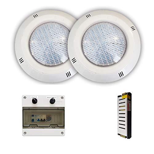 Swimhome Pack Focos LED 18W RGBV+ Cable 4 Hilos Configurable + Transformador...