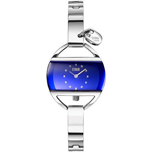 STORM London Temptress Charm Lazer Blue, Damenuhr, Herzanhänger, Wasserdicht bis 3 bar, Analoguhr, Edelstahlgehäuse, hochwertiges Mineralglas, 47013/LB