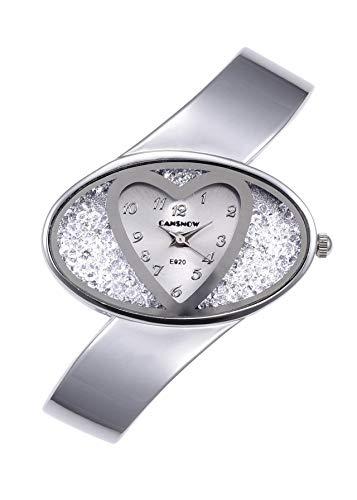 JSDDE Uhren, Damenuhr Elegant Herz Strassstein Dial Armreifuhr Spangenuhren analoge Uhren Quarzuhr Kleideruhr für Frauen(Silber)