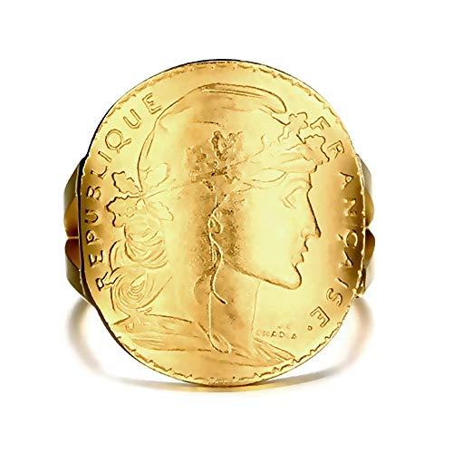 Bobijoo Jewelry – zegelring Marianne verguld 20 franjes Napoleon Mariane glanzend verguld gebogen