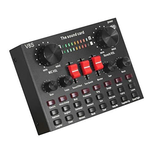 MERIGLARE Placa de Som Externa V8S USB Mixer de áudio Estéreo para PC Web Transmissões Ao Vivo 3,5 Mm Entrada