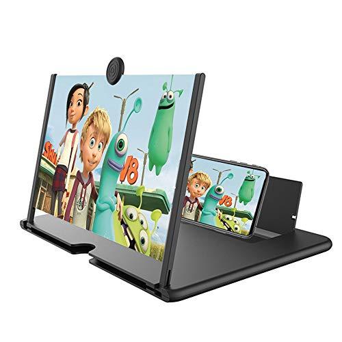 【2021最新版】14インチ スクリーンアンプ スマホ拡大鏡スタンド MAXKU HD 5倍 3D 携帯 スクリーン拡大器 携帯電話スクリーンアンプ スタンド折り畳み式 360°自由回転 携帯便利 軽量 多機能調節可能 スマホ & タブレット