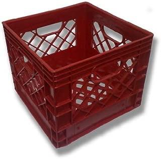 Authentic 13x13x11 4 Gallon 16 Quart Square Dairy Milk Crate (RED)