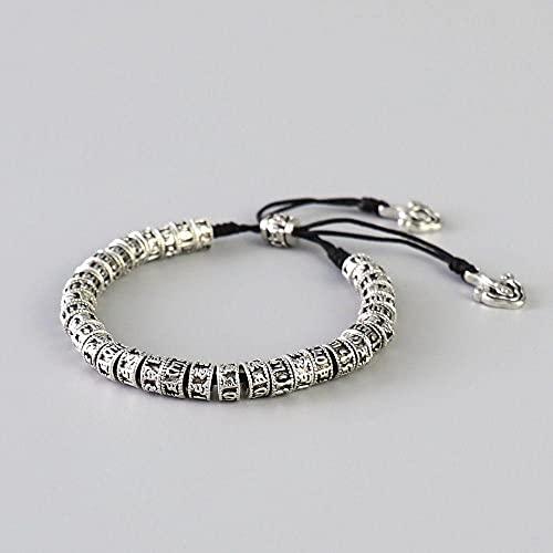 Handmade Black Knot Antiqued Metal Amulet Beads Bracelet For Men Tibetan Buddhism Alloy Beads Bracelet Six Words Mantra