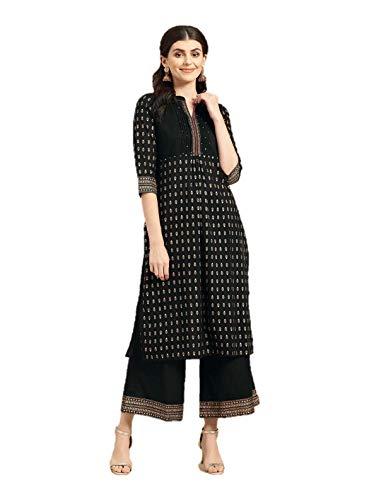 Kurta-Set für Damen, indische Tunika, Oberteile, Baumwolle oder Viskose, Kurti mit Palazzo-Hose, Partykleidung - Schwarz - Mittel