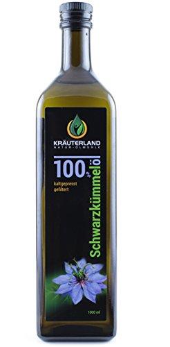 Kräuterland - Schwarzkümmelöl 1000ml - 100{ae9a2fbd673af4d9c92cee9b469bad42528482ab6c793bfa5148a5e7bac9036c} rein, gefiltert, kaltgepresst, ägyptisch, mild - Frischegarantie: täglich mühlenfrisch direkt vom Hersteller