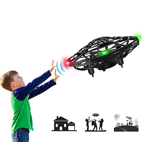 Mini Drone Flying Toy Hand Operated Drones for Kids or Adults - Hands Free UFO Helicopter, Easy Indoor Outdoor Flying Ball Drone Toys for Boys Girls (Black)