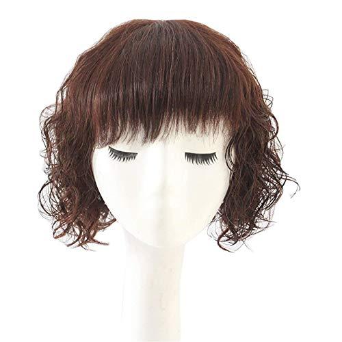 Topjin Middle Aged Lady 25,4 cm court bouclés Cheveux 100% naturels Perruques Femme Cheveux avec frange