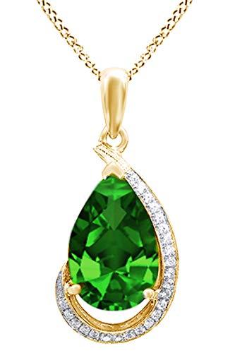 AFFY  -  925 Sterlingsilber 18K gelbvergoldetes Silber Birne Green zirkonia Smaragd