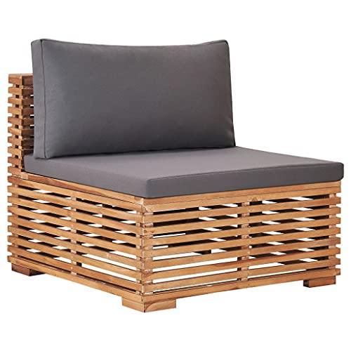 vidaXL Teak Massiv Garten Mittelsofa mit Grauer Auflage Lattendesign Gartensofa Sofa Sessel Gartenmöbel Einzelsofa Lounge Sitzmöbel