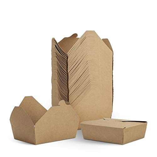 TOROTON Boîte à Emporter, Carton Kraft Alimentaire Préparation Boite Repas avec Couvercles, Empilable, Congélateur & Micro-Ondes - Lot de 40, 2000ml